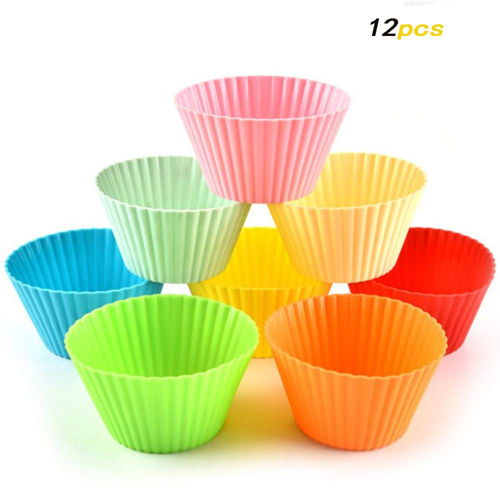 Silicone Baking Cups Muffin Cupcake Liners Holder Reusable 12 24 36 Pcs Mixed