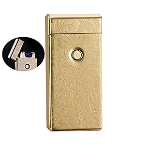 4BOSS LUXURY USB Rechargeable Electronic lighter survival Windproof, flameless, safety, no gas and fluid required, energy-saving double arc lighter. (Gold)