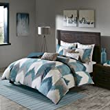 Ink+Ivy Alpine Duvet Cover Full/Queen Size - Aqua, Grey, Ivory, Pieced Chevron Duvet Cover Set – 3 Piece – 100% Cotton Light Weight Bed Comforter Covers
