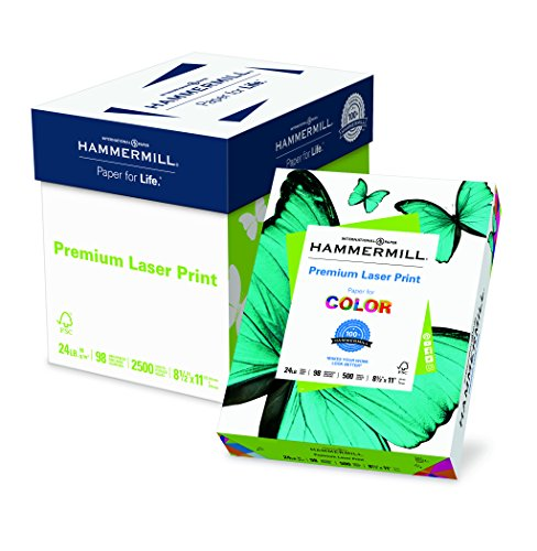 Premium Laser Paper - Hammermill Paper, Premium Laser Print Poly Wrap, 24lb, 8.5 x 11, Letter, 98 Bright, 2500 sheets/5 ream Case, (104640C) Made In The USA