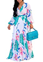 shekiss Women's Sexy V-Neck Floral Long Sleeves Chiffon Flowy Maxi Dresses Prom Party Belt