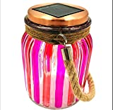 Sogrand Red Stripe Copper Cap Glass Jar, Solar Lights Outdoor, Thick Hanger