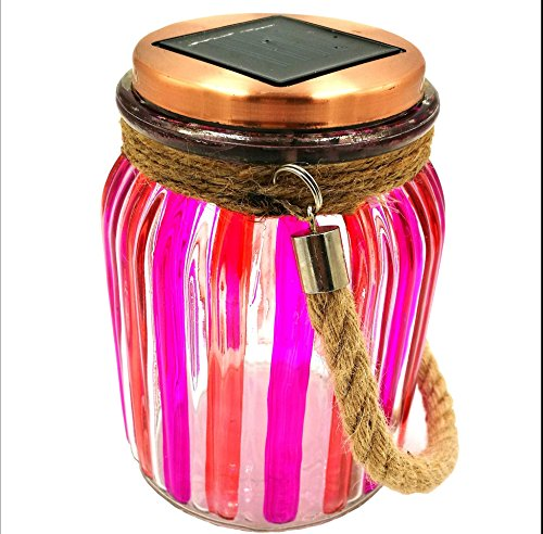 (Sogrand Red Stripe Copper Cap Glass Jar, Solar Lights Outdoor, Thick Hanger)