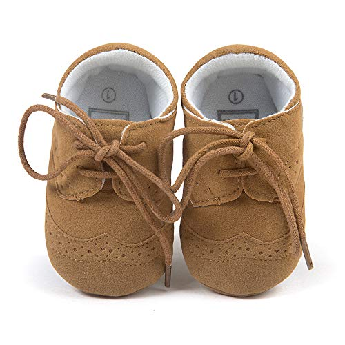 HsdsBebe Baby Boys Suit Oxford Shoes Toddler First Walkers Formal Brogues Pu Leather Rubber Sole Premium Infant Sneakers (3-6 Months M US Infant, Light Brown)