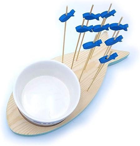 quadrato Set per aperitivo mare con ciotola in ceramica e bastoncini pesci Fede D/éco Nature