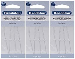 3-PACK - Beadalon Collapsible Eye Needles 2.5-Inch Fine 4/Pack