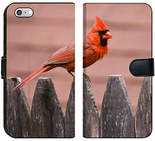 Apple iPhone 6 or 6S Flip Fabric Wallet Case Image of Bird Nature Cardinal Wildlife Male red Wing Avian Feathers Feeder Birds Backyard Songbird Perched Winter