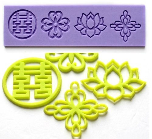 Allforhome(TM) Double Happiness lotus Chinese knot Silicone Lace Fondant Cake Decoration Mold Embossing Flower Decorating Mould