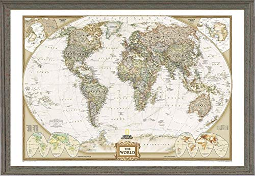 Push Pin World Map by National Geographic Framed (Farmhouse Barnwood Green Blue Wood Frame)