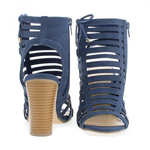 Sandali Aperti Con Tacco Alto A Mule A Tacco Alto Bluedenim
