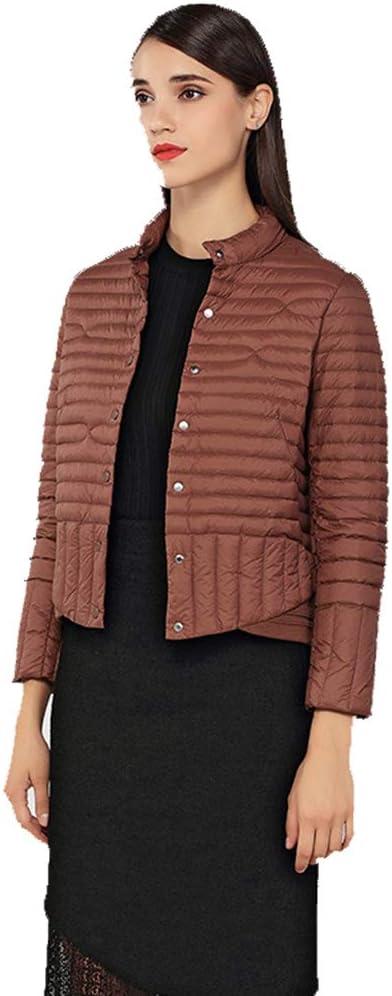 WUYEA Mode Dames Vêtements d'hiver Warm Down Vestes Manteau Court Léger Costume Extérieur Femme Brown