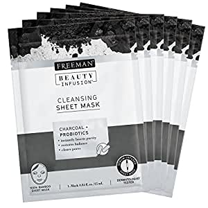 Freeman Beauty Infusion Charcoal + Probiotics Cleansing Sheet Mask, 1 mask decleor life radiance double radiance cream 1 fl oz.