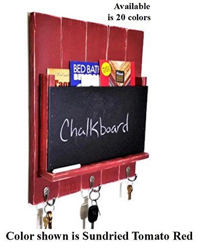 Renewed Décor LARGE Sydney Mail Organizer with Chalkboard featuring 3 key hooks, single mail slot with a rustic design available in 25 Colors