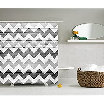 Ambesonne Grey Chevron Shower Curtain Geometric Illustration Decorations  By, Chevron Pattern On Wood Background Design, Polyester Fabric Bathroom Set  With ...