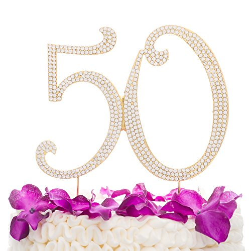 50 Cake Topper Gold 50th Birthday or Anniversary Party Rhinestone Number Decoration (Gold) ()