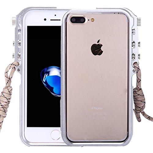 JHM Phone Case for iPhone 8 Plus & 7 Plus 4th Design Trigger Aluminum Metallic Bumper Frame(Black) (Color : Silver) ()