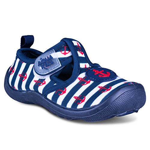 [A200-BLU-T6] Aquakiks Kids Water Aqua Shoes – Waterproof Sandals for Boys, Anchor & Stripes - Jelly Water Shoe