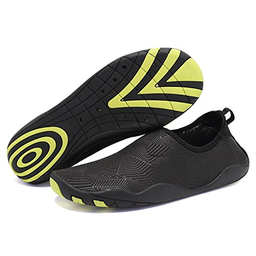 CIOR Men and Women's Barefoot Quick-Dry Water Sports Aqua Shoes with 14 Drainage Holes for Swim, Walking, Yoga, Lake, Beach, Garden, Park, Driving, Boating,SYY04,z.black,45 0
