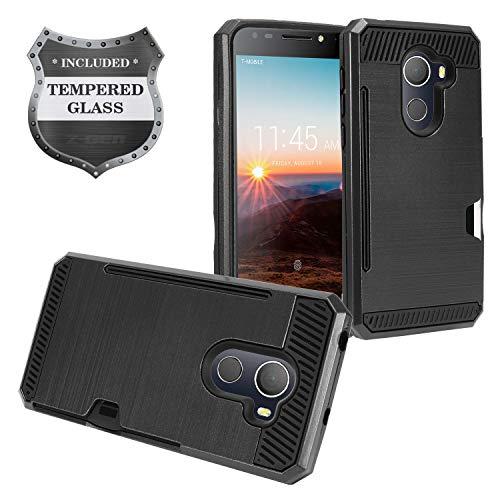 T-Mobile REVVL 5.5 5049W, Alcatel A30 Fierce 5049Z, A30 Plus 5.5 5049S, TCL LX2 - Brushed Hybrid Case w/Card Slot + Tempered Glass Screen Protector - CS2 Black