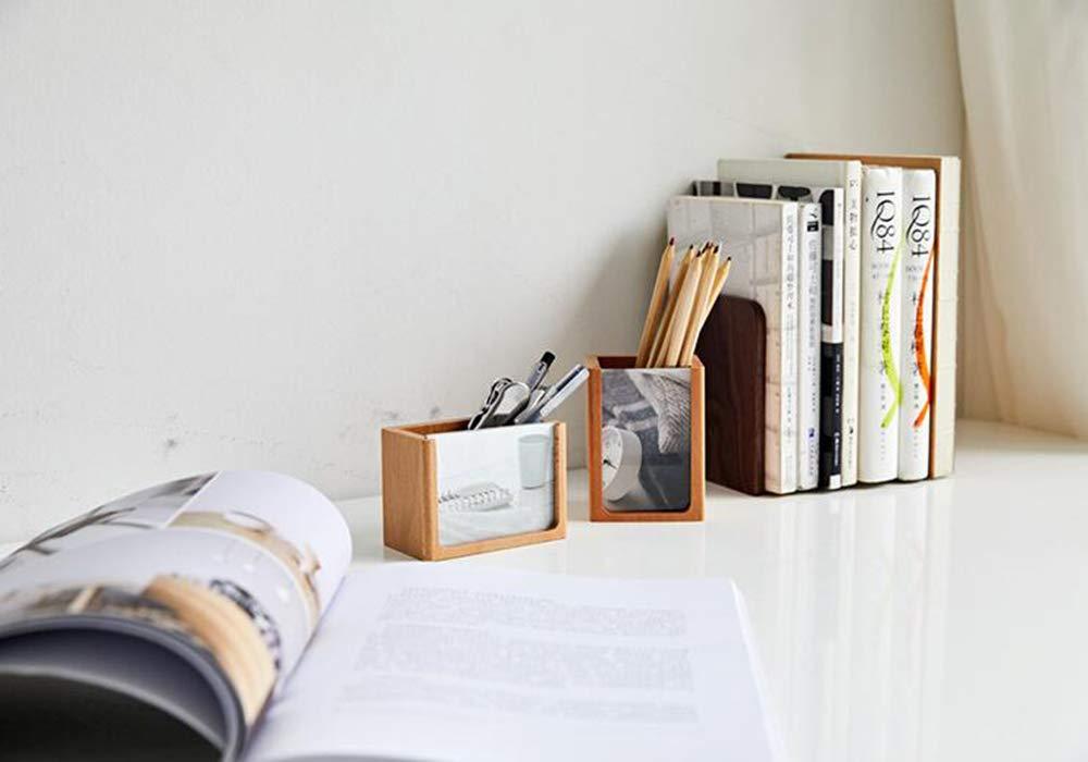 SZ la JIAOJIAO Sostenedor de la SZ Pluma de Madera sólida Multi-función papelería Caja de Almacenamiento Escritorio Oficina Pluma Barril decoración Madera Marco de la Foto,Crosssection f47144