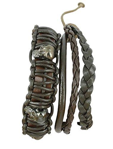ShalinIndia Indian Leather Rope Brown Bead Bracelet for Men - Layered Wrap Leather Bracelet - Mixed Media Bracelet