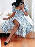 Women's Puff Sleeve Floral Maxi Dress Square Neck