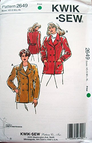 Kwik Sew Pattern 2649 Misses Jackets with Variations Size XS-XL Bust 31 1/2-45 Medium Weight Woven and Firm Knits Only