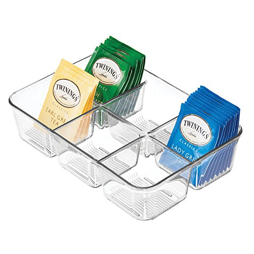 mDesign Kitchen Storage Organizer for Tea Bags, Sugar, Salt, Sweeteners, Creamers - Clear