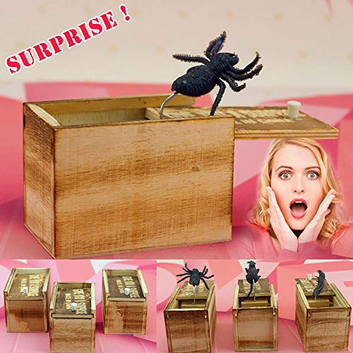 NarutoSak Wooden Prank Toy Spider Scared Box Home Office Practical Tricky Joke Gag Gift, for Kids School April fool's Day Halloween Party Random -