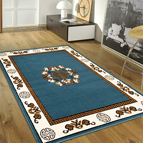 Maxstock Taj Mahal Collection Persian Traditional Design Rectangular Area Rugs -Light Blue/Ivory/Mocha (8 Feet x 10 ()