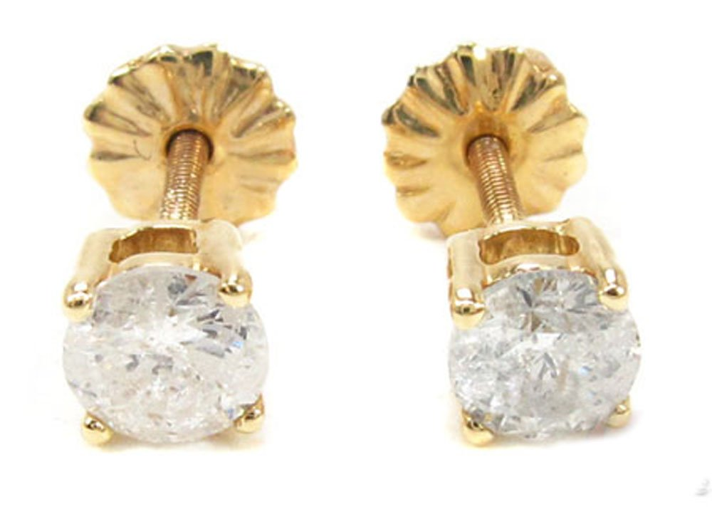 14K Yellow Gold 0.85 Carat Mens H Color I1 Clarity Genuine Diamond Stud Earrings with Screw Back