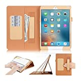 iPad Pro 9.7 Case, FYY® [Super Functional Series] Premium PU Leather Case Stand Cover with Card Slots, Note Holder, Quality Hand Strap and Elastic Strap for Apple iPad Pro 9.7 inch (2016 Release) Gold