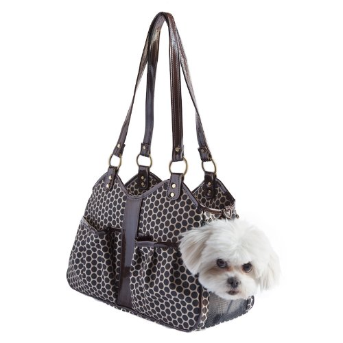 Petote Metro Classic Dog Carrier, Espresso Dots, Small by Petote