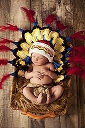 Newborn baby photography prop handmade crochet cute cap Indian feather hat EZ45