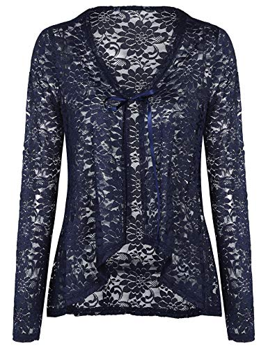 (Concep Lace Sweater Cardigan for Ladies Loose Casual Crochet Jackets Kimono Cover Ups (Navy Blue, XXL) )