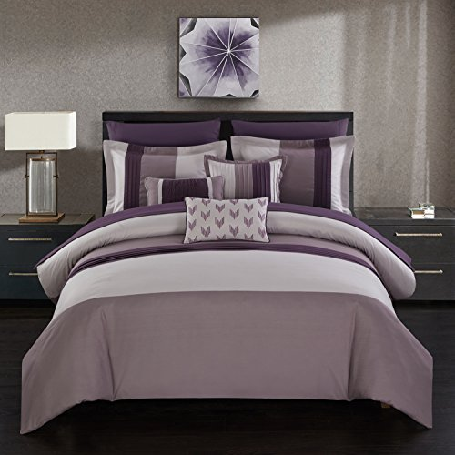 Chic Home Eyelet 10 Piece Comforter Set Color Block Ruffled Bag Bedding-Decorative Pillows Shams Included, King, Plum