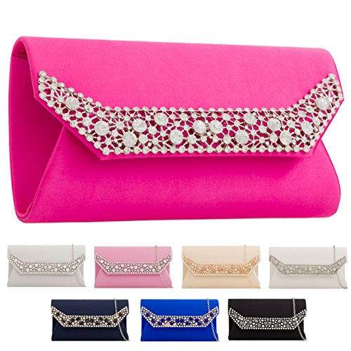 Satin Diamante Party Clutch Women's Envelope Ladies Bag KTL2242 Evening Black Handbag xw5A6dcqO