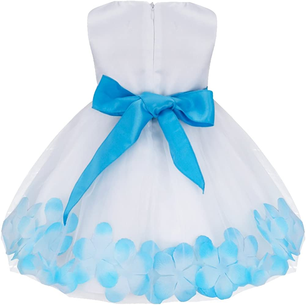 FEESHOW Baby Girls Flower Petals Tulle Dress Wedding Christening Birthday Party Pageant Dresses