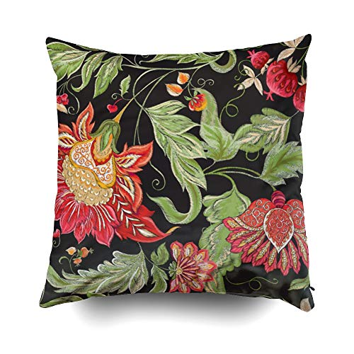 Capsceoll Zip Pillow Case, Pattern with Stylized Ornamental Flowers in Retro Vintage Style Imitation 20x20 Pillow Covers,Home Decoration Pillow Cases Zippered Covers Cushion for Sofa Couch