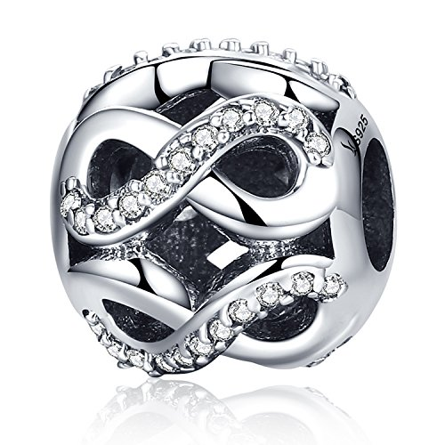Sterling Silver Infinity Love Bead Charms,Shine Openwork Charm Beads with AAA CZ Fit Snake Chain Bracelet (Infinity Love Charm)