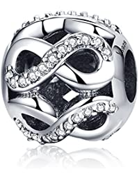 Sterling Silver Infinity Love Bead Charms,Shine Openwork Charm Beads with AAA CZ Fit Snake Chain Bracelet