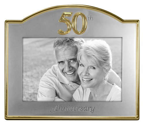 - Malden International Designs Wedding 50th Anniversary Two Tone Picture Frame, 4x6, Gold/Silver