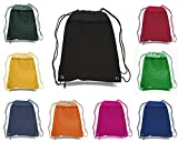 50 PACK - Multipurpose Polyester Drawstring Backpack Bags BULK with Front Zipper Pocket - School Bags Event Tradeshow bags Charity Donation Wholesale Cheap Drawstring Backpacks (Mix-Assorted)