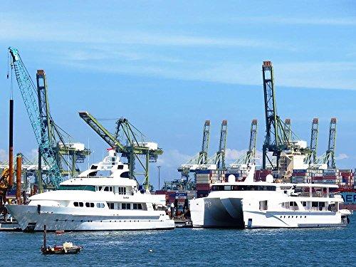 LAMINATED 36x24 inches POSTER: Ship Harbor Shipyard Port Boa