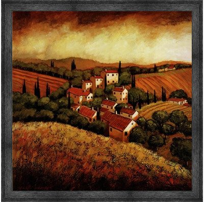 (Poster Palooza Framed Tuscan Hillside Village- 24x24 Inches - Art Print (Black Barnwood Frame))