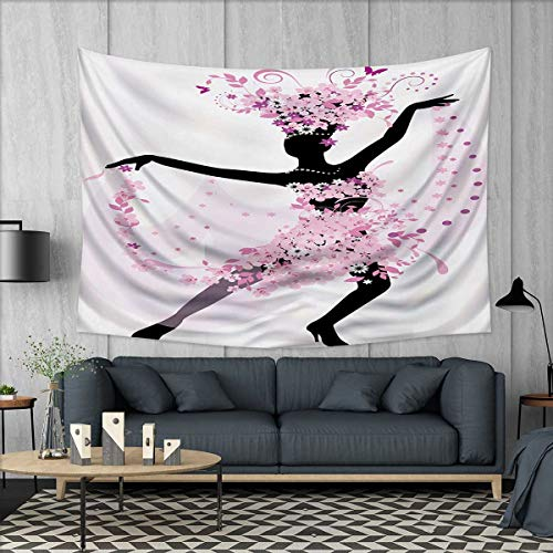 Anhuthree Latin Wall Tapestry Silhouette of a Woman Dancing Samba Salsa Latin Dances Spain and Mexico Culture Print Home Decorations for Living Room Bedroom 80''x60'' Pink Black by Anhuthree