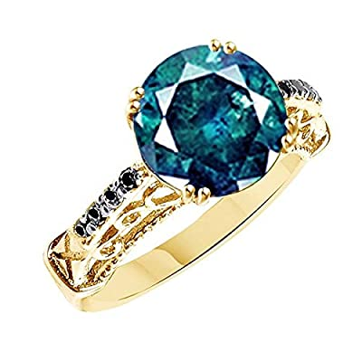 cheap Blueish Green Moissanite & Black Natural Diamond Solitaire Ring In 925 Sterling Silver (2 cttw) Ring Size-6 hot sale