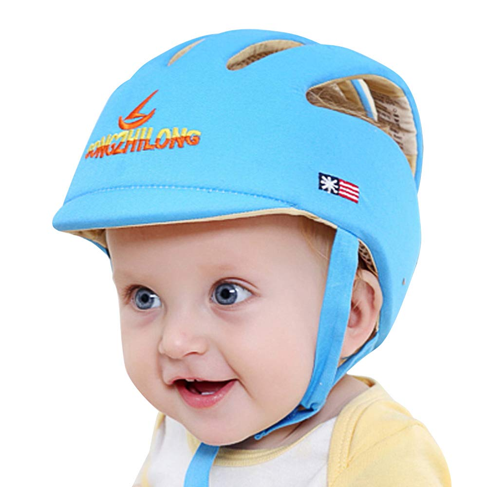 Huifen Baby Children Infant Toddler Adjustable Safety Helmet Headguard Protective Harnesses Cap Blue, Providing Safer Environment Learning to Crawl Walk Playing Baby Infant Blue Hat (Blue with Brim)