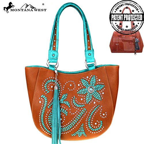 Montana West Concho Collection Concealed Handgun Collection Handbag Tote (Brown)