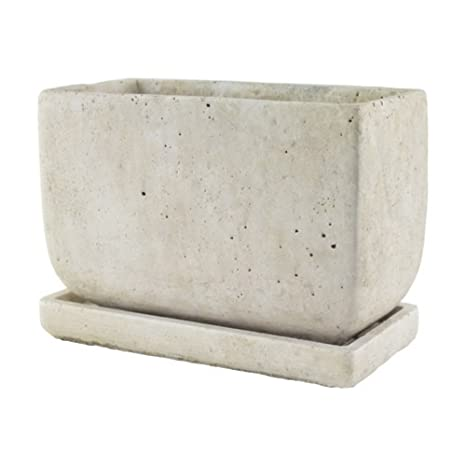 Slate 5-In x 8-In. SYNDICATE HOME & GARDEN Weathered Rectangle Cement Planter